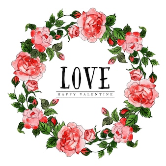Watercolor valentine floral wreath