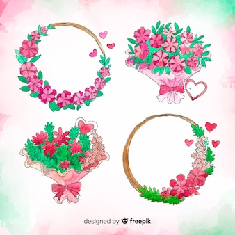Watercolor valentine flower set