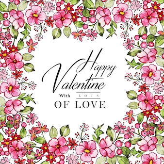 Watercolor valentine frame background