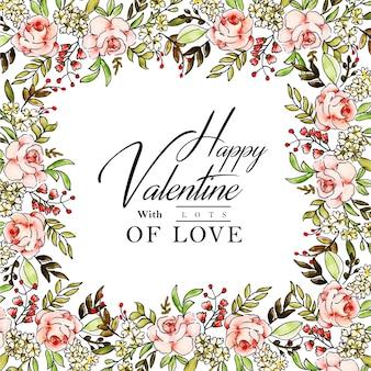 Watercolor valentine frame background