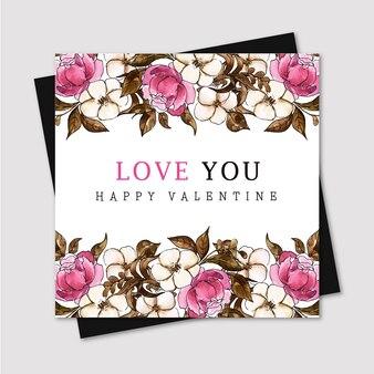 水彩バレンタイングリーティングカード