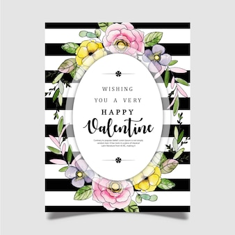 Watercolor valentine greeting card