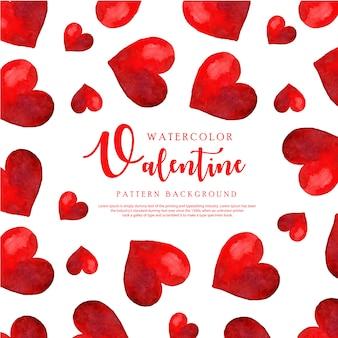 수채화 발렌타인 하트 패턴