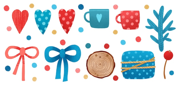 Watercolor valentine hearts, ribbons and lovely cups