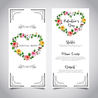 Watercolor valentine menu card template