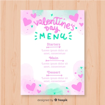 Watercolor valentine menu template
