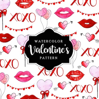 Watercolor valentine pattern background