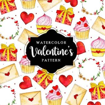 Watercolor valentine pattern background