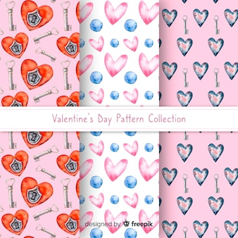 Watercolor valentine pattern collection