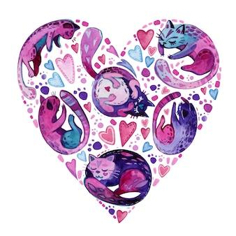 猫とハートの形をした水彩バレンタインカード