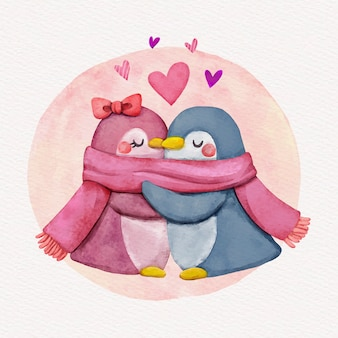 Watercolor valentine's day animal couple