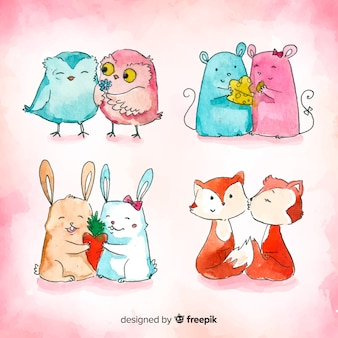 Watercolor valentine's day animals couple collection