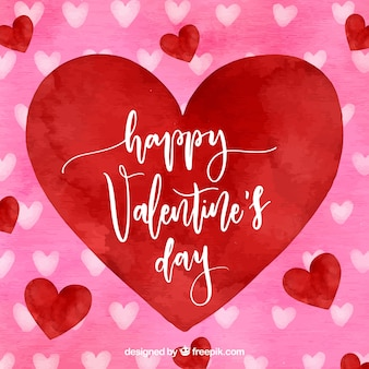 Watercolor valentine's day background with big red heart