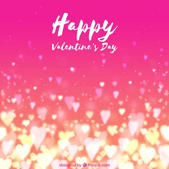 Watercolor valentine's day background with blurred hearts
