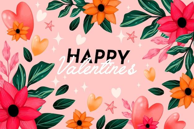 Fondo di san valentino dell'acquerello con fiori e auguri