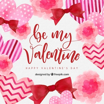 Watercolor valentine's day background with hearts and ribbons