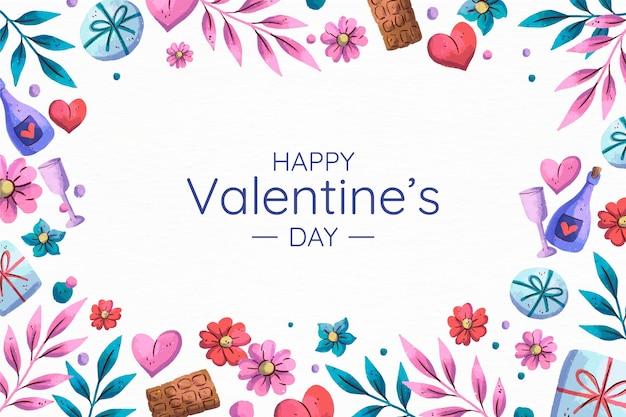 心と水彩のバレンタインデーの背景