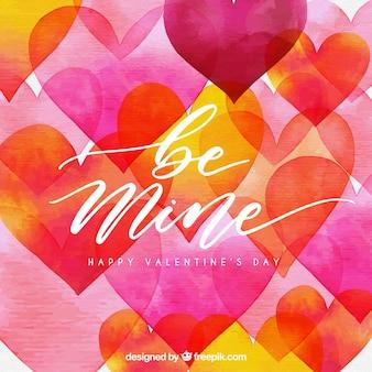 ピンクとオレンジのハートの水彩バレンタインデーの背景