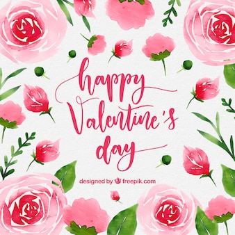 Watercolor valentine's day background with pink roses