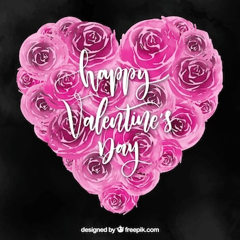 Watercolor valentine's day background with roses in a heart