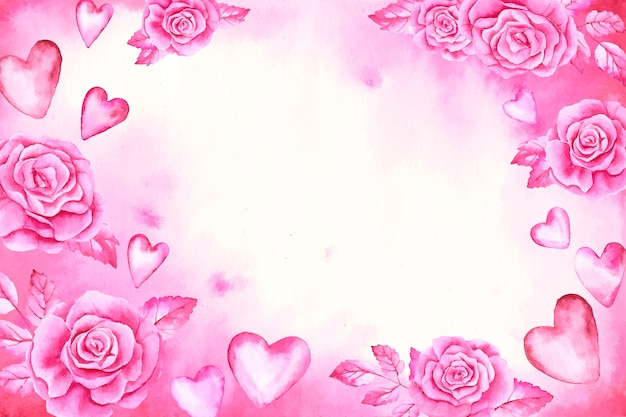 Watercolor valentine's day background with roses and pink hearts