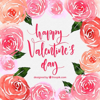 Watercolor valentine's day background with roses
