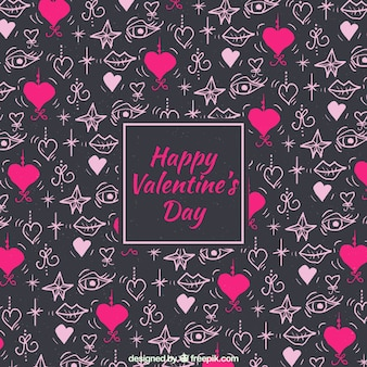 Watercolor valentine's day background with small hearts and stars