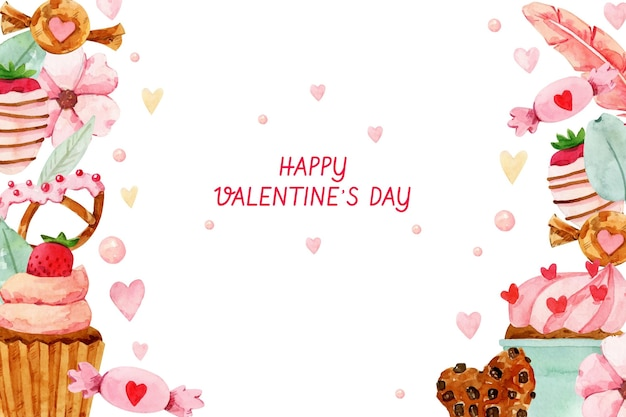 Watercolor valentine's day background with sweets