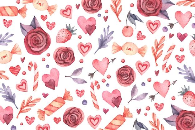 Acquerello san valentino sfondo