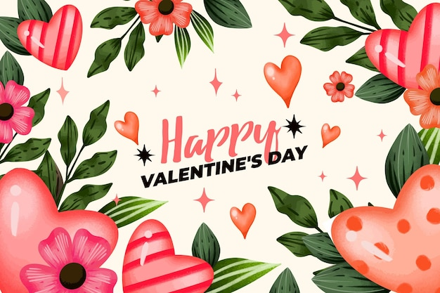 Watercolor valentine's day background