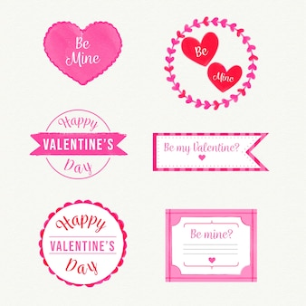 Watercolor valentine's day badge collection