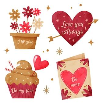 Collezione di badge di san valentino dell'acquerello