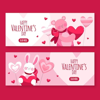 Watercolor valentine's day banners with animals