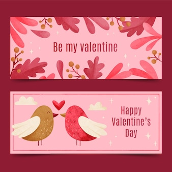 Watercolor valentine's day banners with birds