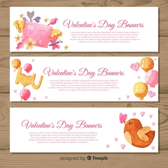 Watercolor valentine's day banners