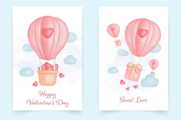 Watercolor of valentine's day card with air balloon