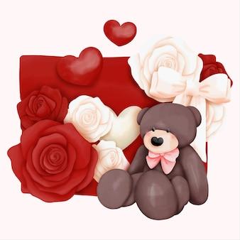 クマとラブレターの水彩バレンタインデーカード