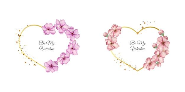 아름 다운 꽃으로 수채화 발렌타인 카드