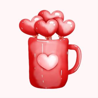 ハートとマグカップの水彩バレンタインデーカード