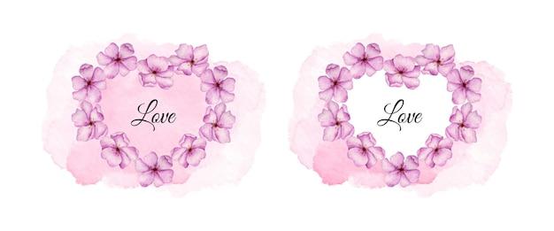 ピンクの花と水彩のバレンタインデーカード
