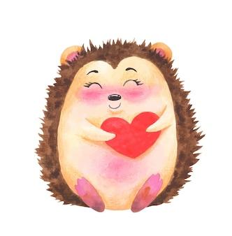 水彩バレンタインデーかわいいハリネズミのキャラクター