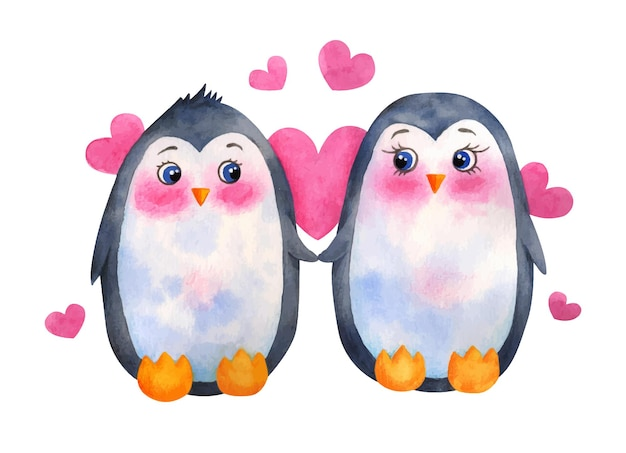 Акварель день святого валентина милая пара пингвинов