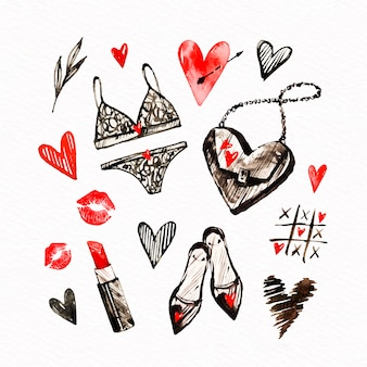 Watercolor valentine's day element pack