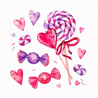 Watercolor valentine's day element set