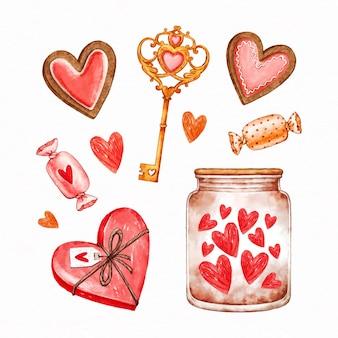Коллекция акварельных элементов дня святого валентина