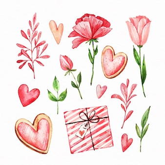Insieme di elementi di san valentino dell'acquerello