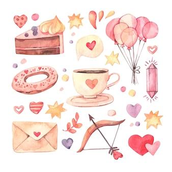 水彩のバレンタインデーの要素