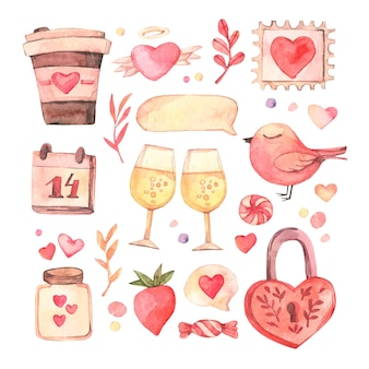 Watercolor valentine's day elements