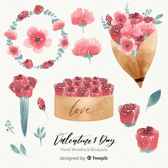 Watercolor valentine's day floral wreaths & bouquets