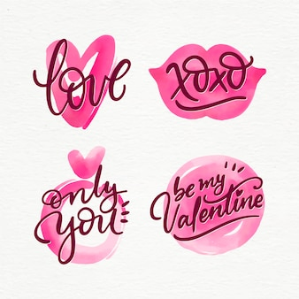 Watercolor valentine's day label collection